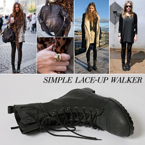 [IS11044] Simple lace-up walker 2cm  인더소울