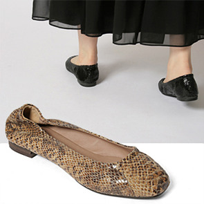 [AM7087] Snake pattern flat shoes (2 color) 1cm